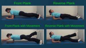 Plank, reverse plank, leg movement, arm movement for core strength, core stability, rehabiliation for rock climbing, cycling and climbing